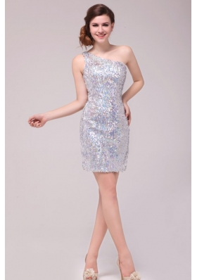 Silver One Shoulder Short Prom Gown Dresses Made by Sequin