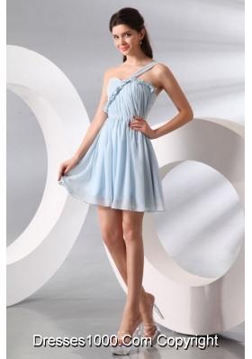 Short One Shoulder Ruche Chiffon Prom Dresses in Light Blue