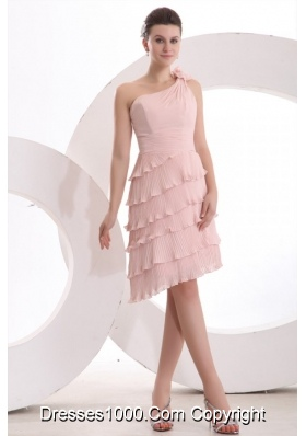 Pink One Shoulder Layers Prom Dress with Hand Made Flower