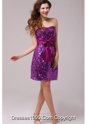 Column Sweetheart Sequin Bowknot Sash Prom Pageant Dress