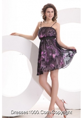 Printed Fabric Straps Mini Length Prom Formal Dress for 2014