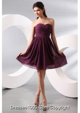Beautiful Sweetheart Ruched Chiffon Purple Prom Party Dress