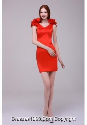 Cute Red Short Sheath V-neck Prom Gown with Handle Flowers