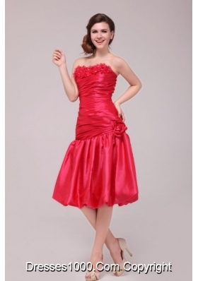Flowers Strapless Ruched Red Taffeta Dresses for Prom Night