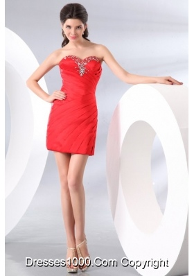 Popular Sweetheart Beading Ruches Red Prom Evening Dress