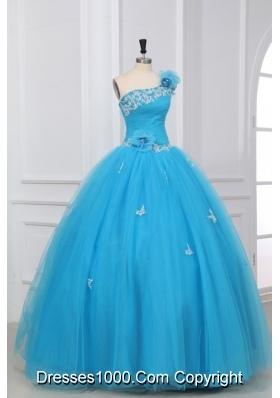 Aqua Blue Hand Made Flowers One Shoulder Quinceanera Dress