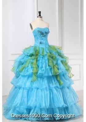 Lovely Aqua Blue and Green Ruffles Organza Quinceanera Dress