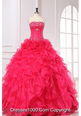 Coral Red Beading and Ruffles Strapless Organza Quinceanera Dress