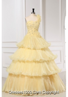 Pretty Light Yellow One Shoulder Quinceanera Dress For Girls