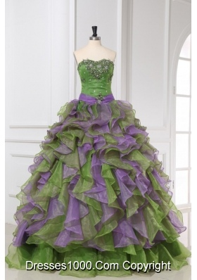 Multi-color Organza Sweetheart Beading and Ruffles Quinceanera
