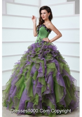 Multi-color Strapless sweet 16 dresses with Appliques and Ruffles