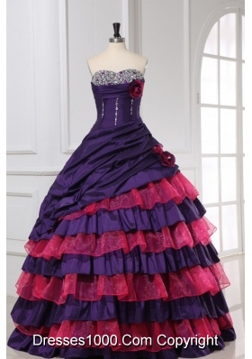 Red and Purple Sweetheart Beading Ruffled Layers Quinceanera Dress