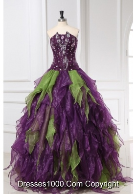 Green and Purple Strapless Organza Quinceanera Dress with Rhinestone