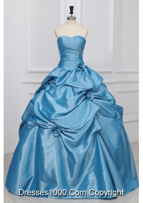 Light Blue Sweetheart Hand Made Flowers Taffeta Quinceanera Dress