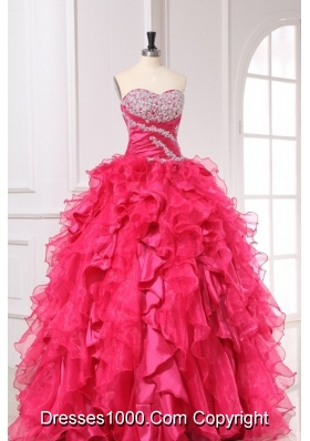 Hot Pink Sweetheart Quinceanera Dress with Beading and Ruffles