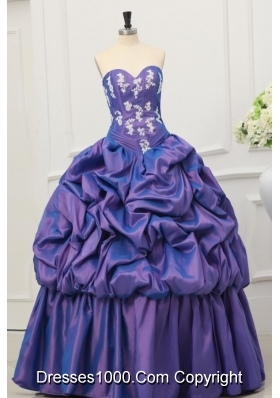 Purple Sweetheart Taffeta Appliques and Pick-ups Quinceanera Dress