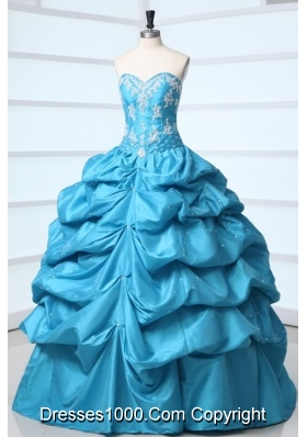 Princess Taffeta Quinceanera Dress with Appliques and Pick-ups