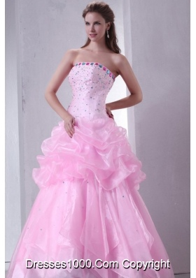 Baby Pink Pick Ups and Beading Organza Quinceanera Dress