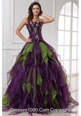 Quinceanera Dress with Rhinestones in Purple and Green Organza