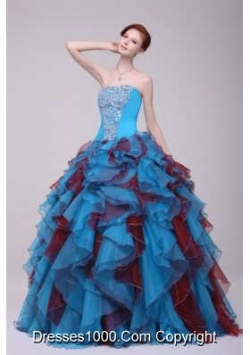 Ball Gown Strapless Beaded and Ruffled Two-tone Quinceanera Dress