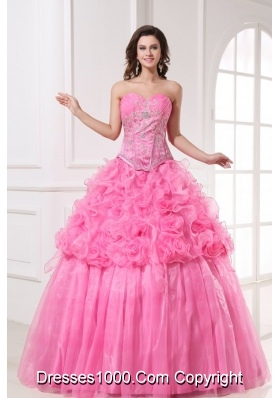 Pink Sweetheart Quinceanera Dress with Appliques and Rolling Flowers