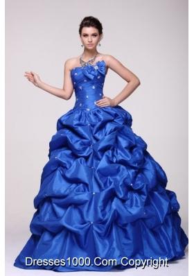 Sassy Beading Bowknot and Pick Ups Blue Taffeta Sweet 16 Dress