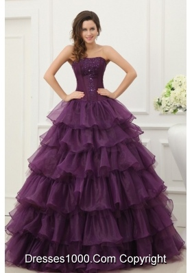 Ruffled Layeres Quinceanera Dress in Dark Purple with Beading