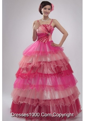 Spaghetti Straps Ruffled Layers Organza Quinceanera Party Dress