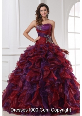 Multi-color Sweetheart Appliqued Sweet 16 Dresses with Ruffles