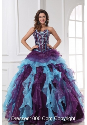 Sweetheart Neckline Purple and Blue Organza Sweet 15 Dresses