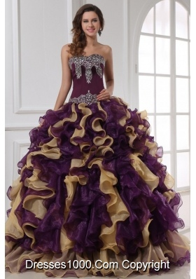 Sweetheart Purple with Gold Beaded and Ruffled Quinceanera Gown