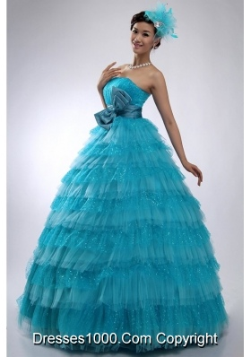 Lovely Bowknot and Paillettes Puffy Layers Tule Sweet 16 Dresses