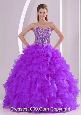 New Arrival Purple Sweetheart Ruffles Organza Long Sweet