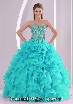 Popular Aqua Blue Ball Gown Ruffles and Beaded Decorate Quinceanera Gowns for Sweet 16