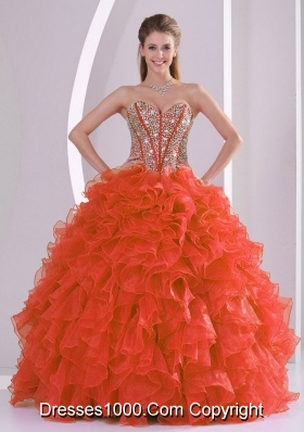 Coral Red Sweetheart Ruffles and Beaded Decorate Quinceanera Gowns for 2014 Winter
