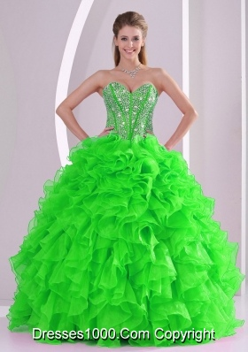 Lace up 2013 winter Ball Gown Quinceanera Dresses with  Ruffles and Beading