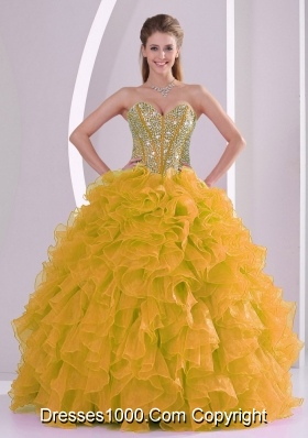 2013 winter Beading and Ruffles Sweetheart Long Quinceanera Gowns