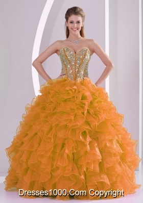 Orange Sweetheart 2014 Hot Sell Quinceanera Gowns with Ruffles and Beading