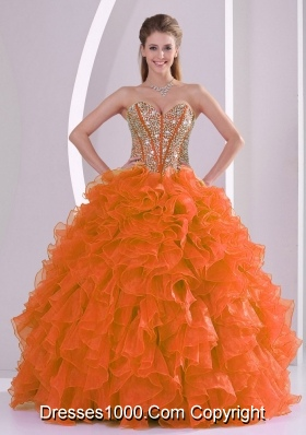 Ruffles and Beaded Decorate Quinceanera Gowns in Sweet 16 with Ball Gown Sweetheart