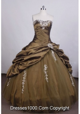 Brand New Ball Gown Strapless FLoor-Length Brown Beading Quinceanera Dresses