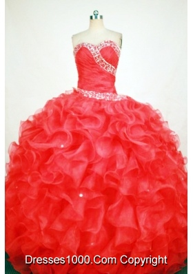 Gorgeous Ball Gown Sweetheart Floor-length Red Organza Beading Quinceanera dress