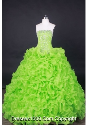 Popular Ball Gown Strapless Floor-Length Orangza Spring Green Beading Quinceanera Dresses