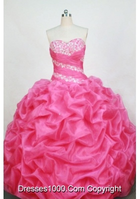 Romantic Ball Gown Sweetheart Floor-length Rose Pink Organza Beading Quinceanera dress