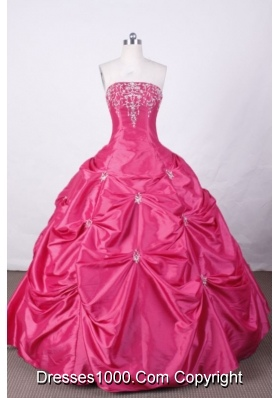 Swwet Ball Gown Strapless FLoor-Length Hot Pink Appliques And Beading Quinceanera Dresses