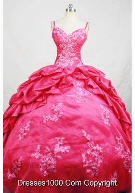 Affordable Ball Gown Straps Floor-Length Hot Pink Beading and Appliques Quinceanera Dresses