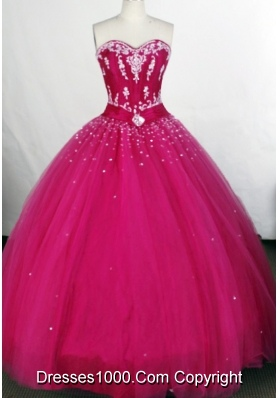 Affordable Ball Gown Sweetheart-neck Floor-length Tulle Quinceanera Dresses