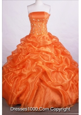 Beautiful Ball Gown Strapless Floor-length Orange Quinceanera Dresses