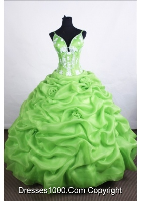 Beautiful Ball Gown Straps Floor-length Spring Green Quinceanera Dresses