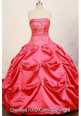 Cheap Ball Gown Strapless Floor-length Taffeta Hot Pink Quinceanera Dress