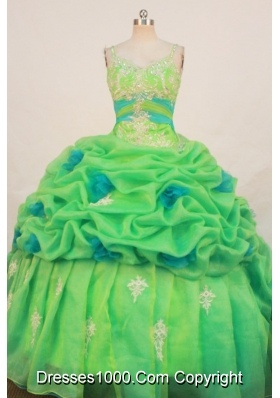Cute Ball Gown Strap Floor-length Quinceanera Dresses Appliques with Beading
